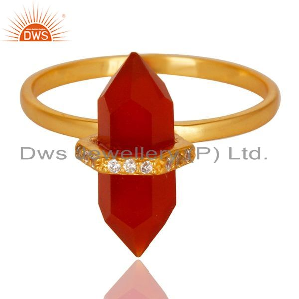 Exporter Red Onyx Cz Studded Double Terminated Pencil Gold Plated Silver Ring