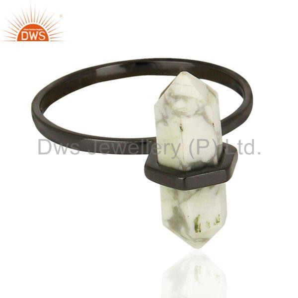 Exporter Indian Black Rhodium Plated Silver Howlite Gemstone Ring Jewelry