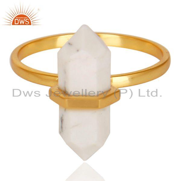 Exporter Howlite Terminated Pencil Gold Plated 92.5Stelring Silver Wholesale Ring
