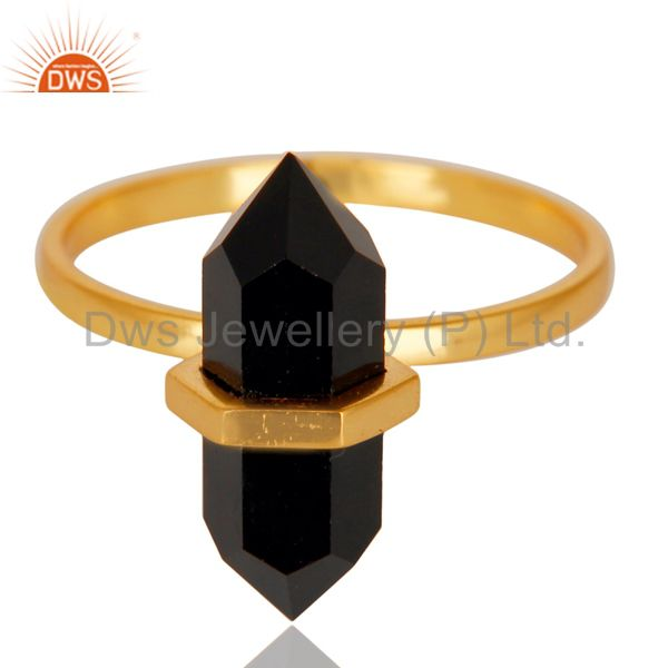 Exporter Black Onyx Terminated Pencil Gold Plated 92.5 Stelring Silver Wholesale Ring