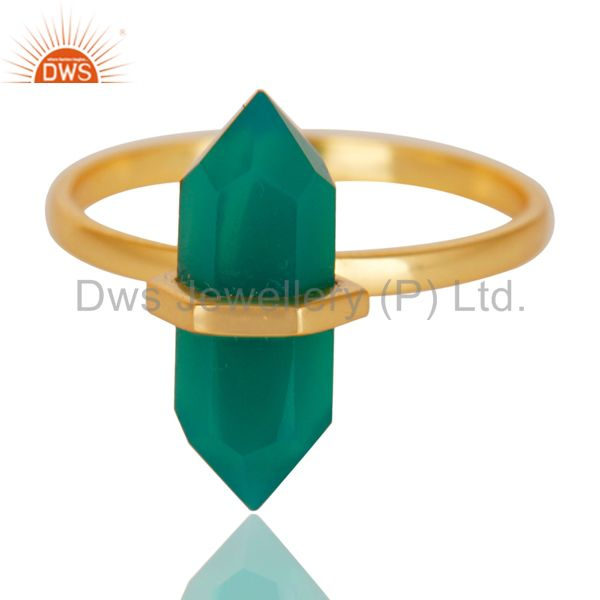 Exporter Green Onyx Terminated Pencil Gold Plated 92.5Stelring Silver Wholesale Ring