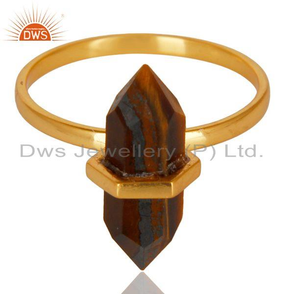 Exporter Tigereye Terminated Pencil Gold Plated 92.5Stelring Silver Wholesale Ring