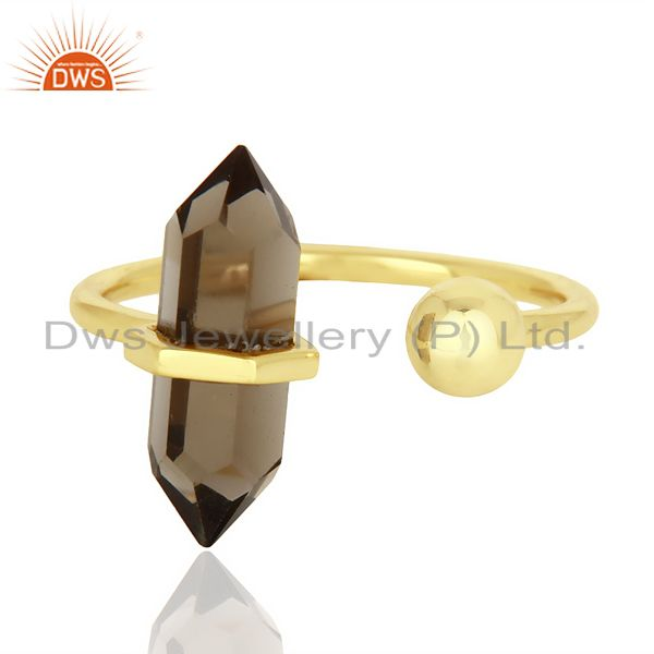 Exporter Smoky Topaz Pencil Adjustable Openable Ball 14K Gold Plated Sterling Silver Ring