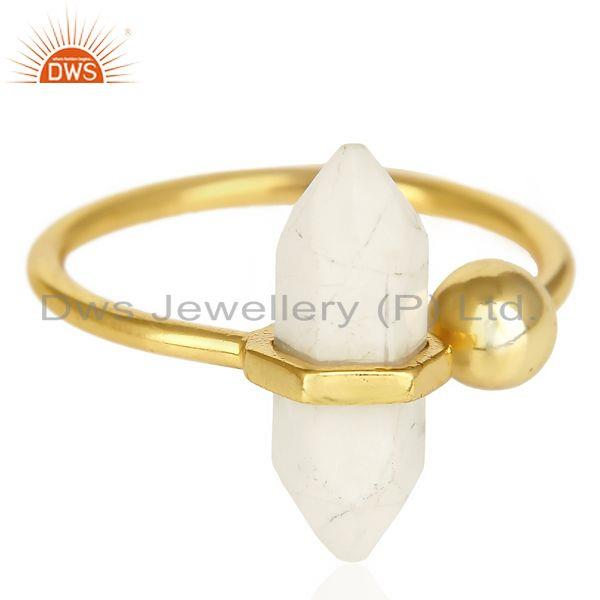 Exporter Howlite Pencil Adjustable Openable Ball 14K Gold Plated Sterling Silver Ring