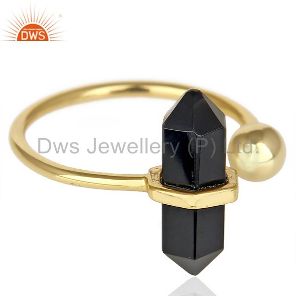 Exporter Black Onyx Pencil Adjustable Openable Ball 14K Gold Plated Sterling Silver Ring