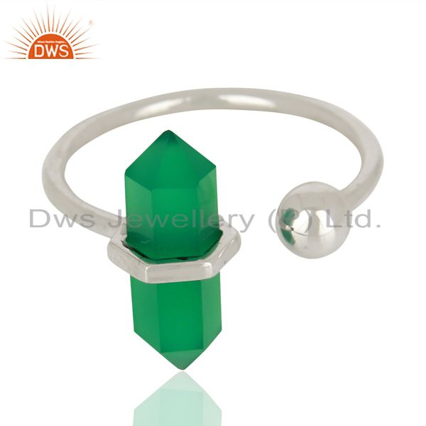 Exporter Green Onyx Pencil Adjustable Openable Ball 92.5 Sterling Silver Ring Jewellery