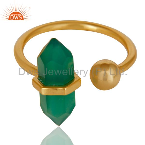 Exporter Green Onyx Pencil Adjustable Openable Ball 14K Gold Plated Sterling Silver Ring