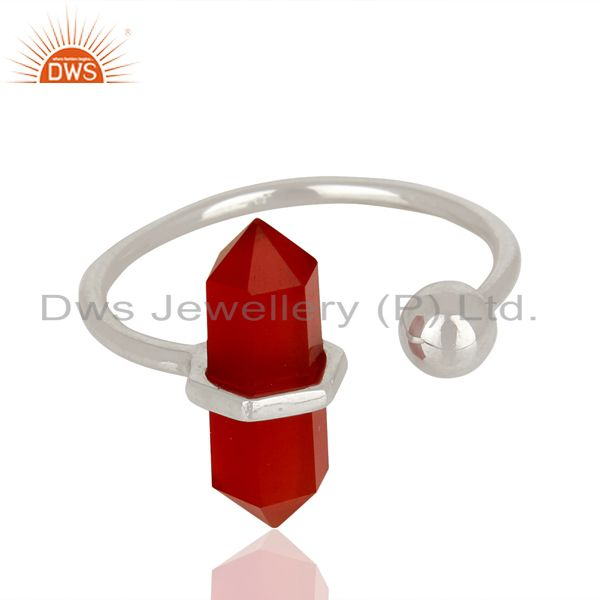 Exporter Red Onyx Pencil Adjustable Openable Ball 92.5 Sterling Silver Ring Jewellery