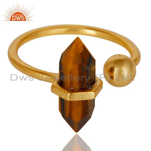 Exporter Tigereye Pencil Adjustable Openable Ball 14K Gold Plated 92.5 Silver Ring