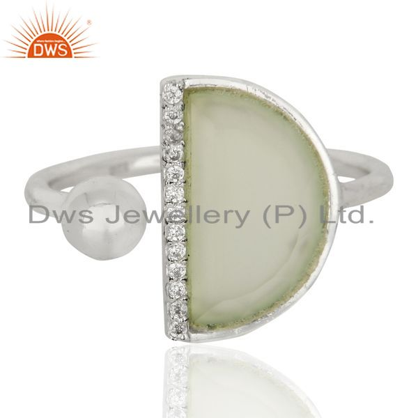 Exporter Aqua Chalcedony Half Moon Ring Cz Studded92.5 Sterling Silver Ring Jewelry