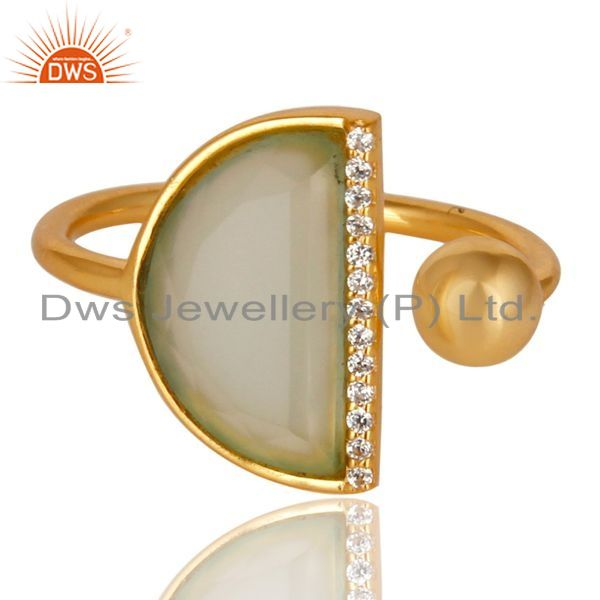 Exporter Aqua Chalcedony Half Moon Ring Cz Studded 14K Gold Plated Sterling Silver Ring