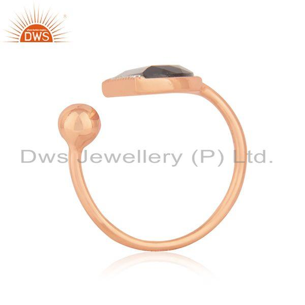 Exporter CZ Smoky Quartz Gemstone Rose Gold Plated Silver Ring Jewelry