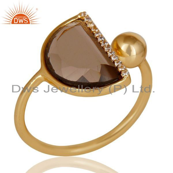 Exporter Smoky Topaz Half Moon Ring Cz Studded 14K Gold Plated Sterling Silver Ring