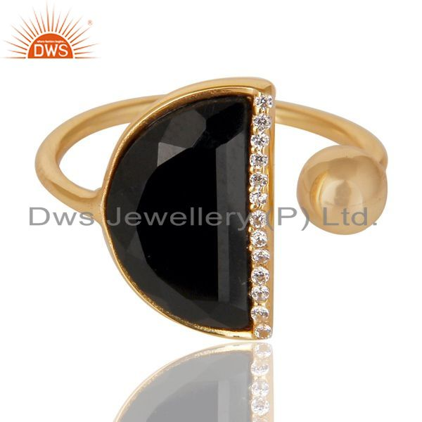 Exporter Black Onyx Half Moon Ring Cz Studded 14K Gold Plated Sterling Silver Ring