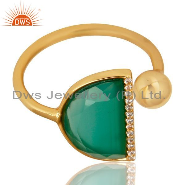 Exporter Green Onyx Half Moon Ring Cz Studded 14K Gold Plated Sterling Silver Ring