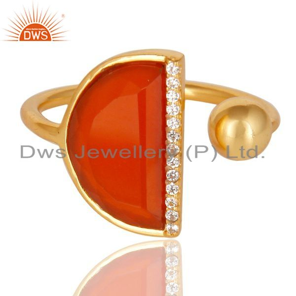 Exporter Red Onyx Half Moon Ring Cz Studded 14K Gold Plated Sterling Silver Ring