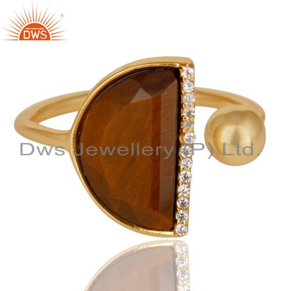 Exporter Tigereye Half Moon Ring Cz Studded 14K Gold Plated Sterling Silver Ring