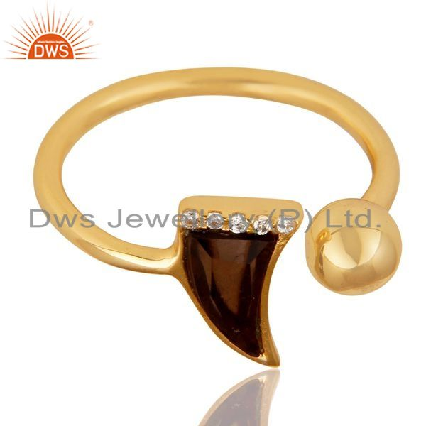 Exporter Smoky Topaz Horn Ring Cz Studded Ball Ring Gold Plated Sterling Silver Ring