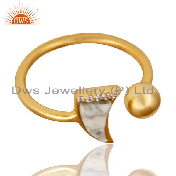 Exporter Howlite Horn Ring Cz Studded Ball Ring Gold Plated Sterling Silver Ring