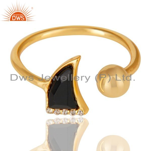 Exporter Black Onyx Horn Ring Cz Studded Ball Ring Gold Plated Sterling Silver Ring