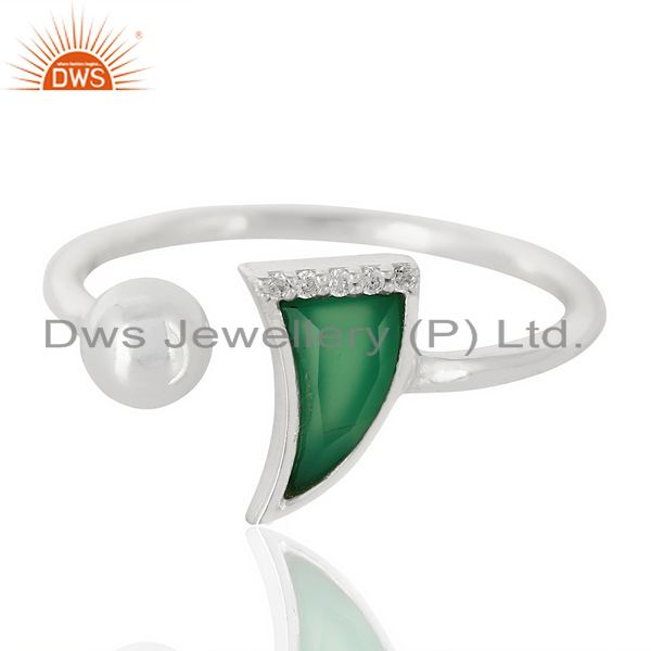 Exporter Green Onyx Horn Ring Cz Studded Ball Openable Ring Sterling Silver Ring