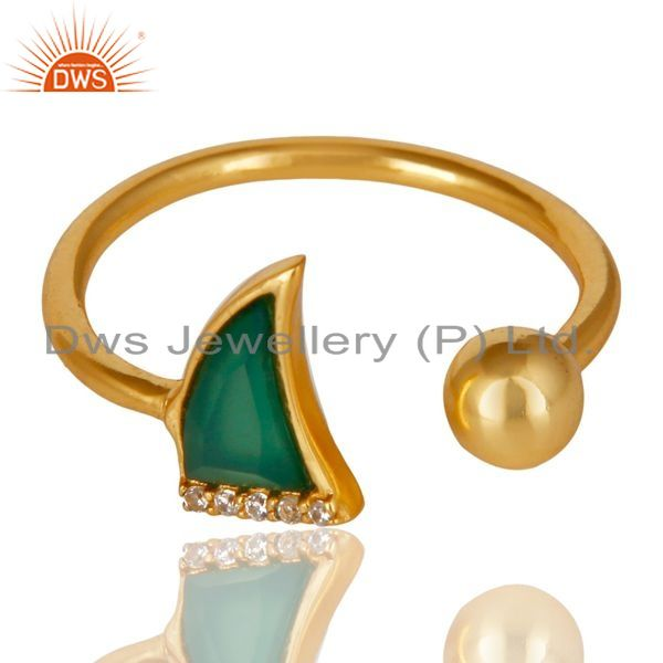 Exporter Green Onyx Horn Ring Cz Studded Ball Ring Gold Plated Sterling Silver Ring