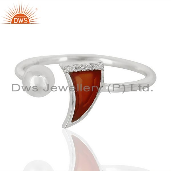 Exporter Red Onyx Horn Ring Cz Studded Ball Openable Ring Sterling Silver Ring