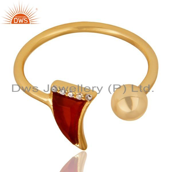 Exporter Red Onyx Horn Ring Cz Studded Ball Ring Gold Plated Sterling Silver Ring