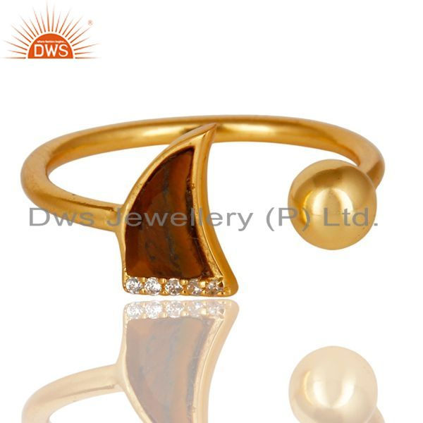 Exporter Tigereye Horn Ring Cz Studded Ball Ring Gold Plated Sterling Silver Ring