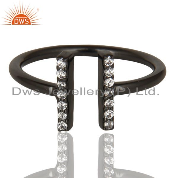 Exporter Cz Studded Parallel Ring Openable Parallel Ring Black Rhodium 92.5 Silver Ring