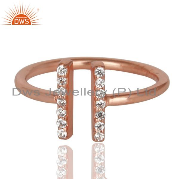 Exporter Cz Studded Parallel Ring Openable Parallel Ring Rose GoldPlated 92.5 Silver Ring