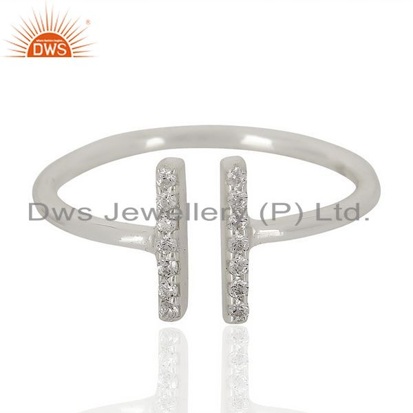Exporter Cz Studded Parallel Ring Openable Parallel Ring 92.5 Silver Wholesale Ring