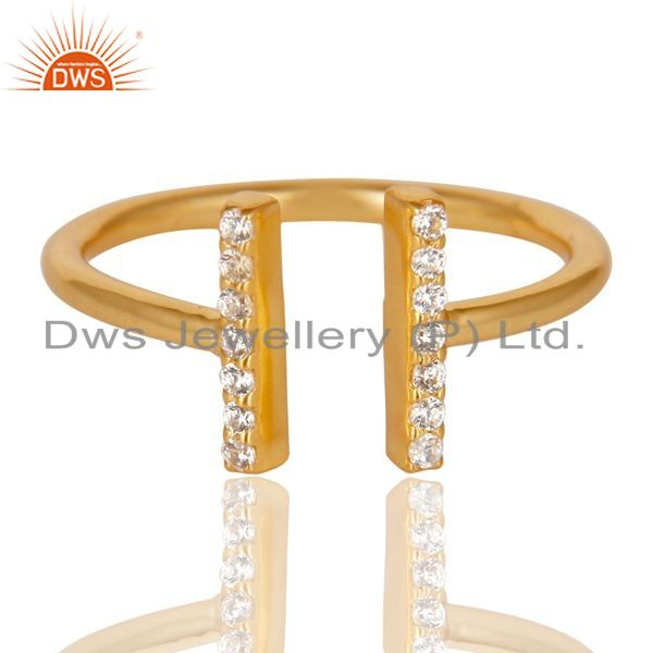 Exporter Cz Studded Parallel Ring Openable Parallel Ring Gold Plated 92.5 Silver Ring
