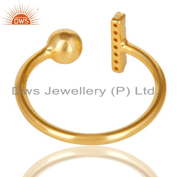 Exporter CZ Gemstone Stackable 14K Yellow Gold Plated 925 Sterling Silver Ring Jewelry