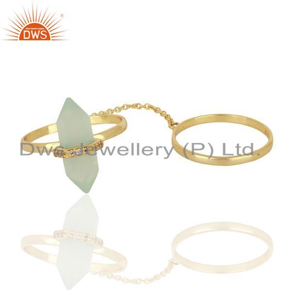Manufacturer of Aqua Chalcedony And White Cz Studded Two Finger Ring Gold Plated Silver Jewelry