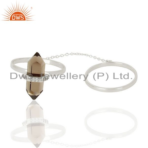 Manufacturer of Smoky Topaz And White Cz Studded Two Finger Ring 92.5 Sterling SilverJewelry