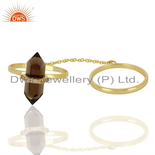 Exporter Smoky Topaz And White Cz Studded Two Finger Ring Gold Plated Silver Jewelry