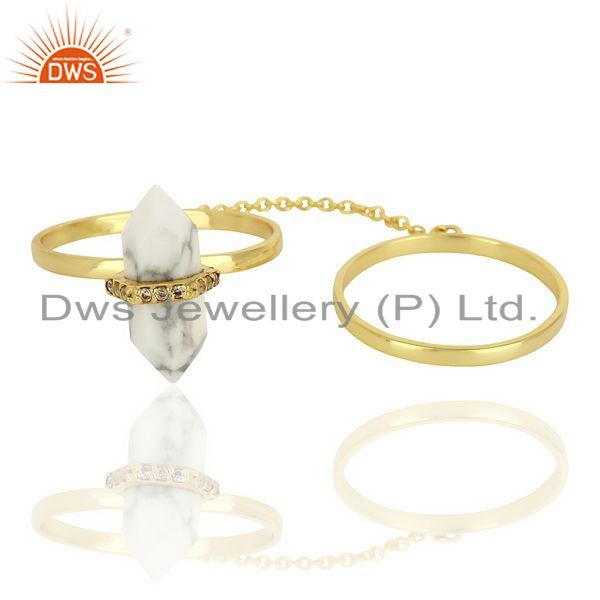 Exporter Howlite And White Cz Studded Two Finger Ring Gold Plated Silver Jewelry