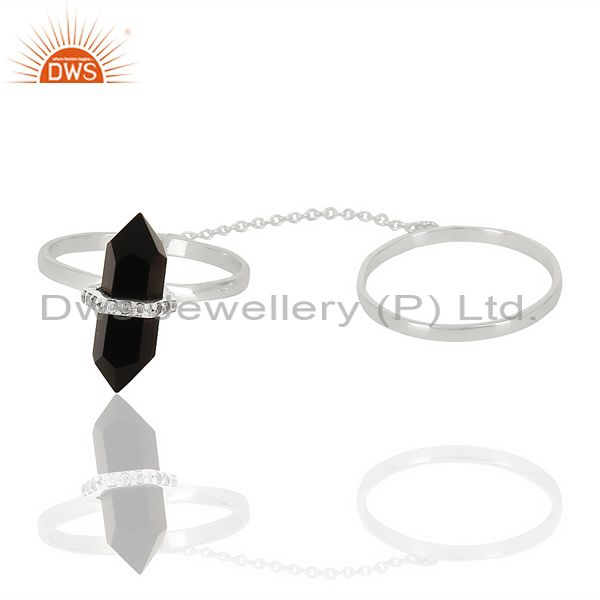 Supplier of Black Onyx And White Cz Studded Two Finger Ring 92.5 Sterling SilverJewelry