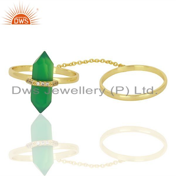 Exporter Green Onyx And White Cz Studded Two Finger Ring Gold Plated Silver Jewelry