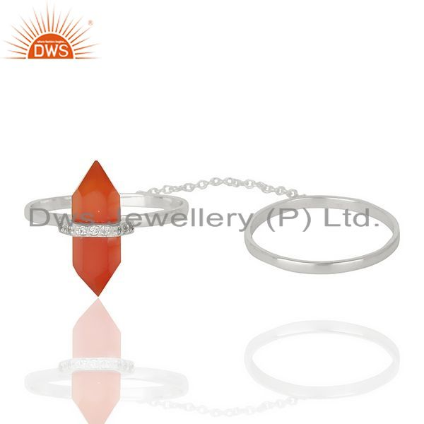 Exporter Red Onyx And White Cz Studded Two Finger Ring 92.5 Sterling SilverJewelry