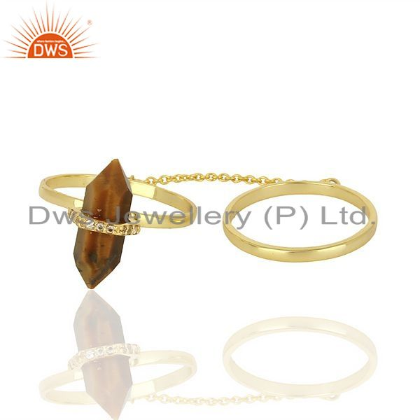Exporter Tigereye And White Cz Studded Two Finger Ring Gold Plated Silver Jewelry