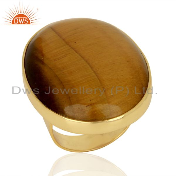 Exporter Yellow Tigereye Mens Ring Fine Gold Plated Sterling Silver Wholesale Jewelry