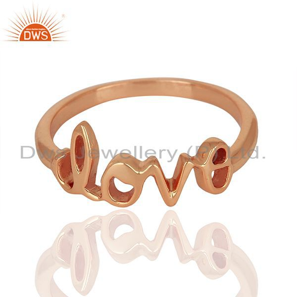 Exporter Initial Love Customized Rose Gold Plated 925 Silver Ring Manufacturer