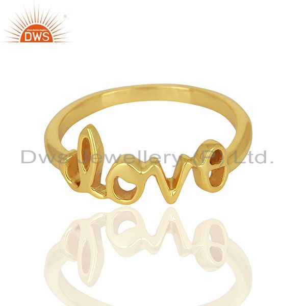 Exporter Initial Love Customized Gold Plated 925 Silver Ring Manufacturer