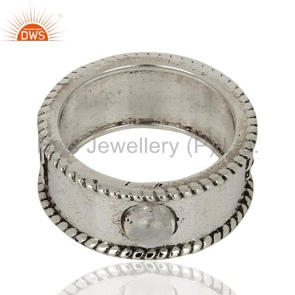 Exporter Rainbow Moon Stone Tungsten 925 Sterling Silver Oxodized Plated Band Rings