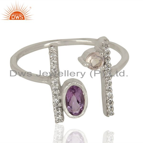 Exporter Amethyst Adjustable Parallel Bar White Rhodium Plated  High Finish Silver Ring