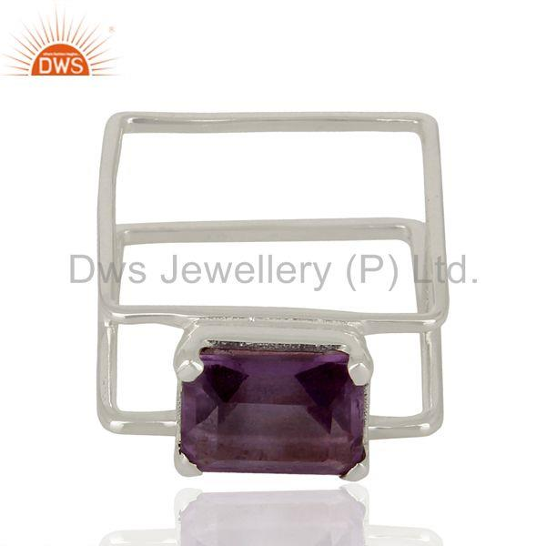 Exporter Anethyst Square Wire And Shape Designer Artisan Wholesale Silver Ring