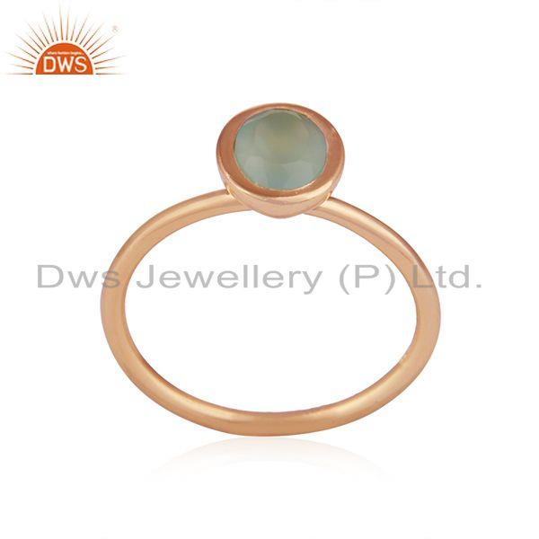 Exporter Aqua Chalcedony Gemstone Rose Gold Plated 925 Silver Rings