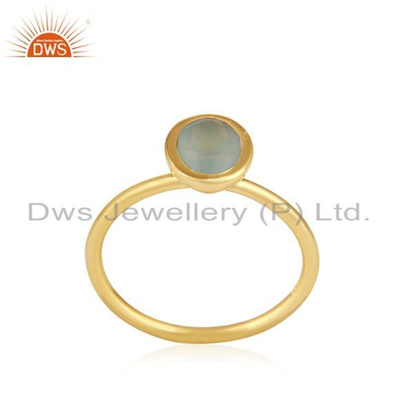 Exporter Gold Plated 925 Silver Aqua Chalcedony Gemstone Rings Manufacturer